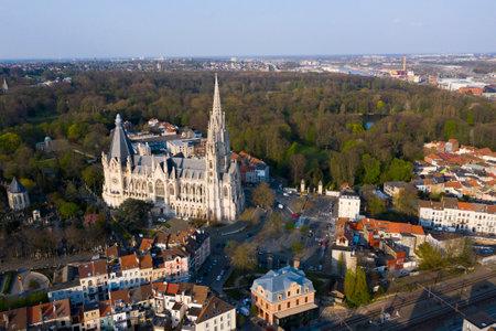 Brussels, Laeken, Belgium, April 8, 2020: aerial view of the Church of Our Lady of Laeken - Église Notre-Dame de Laeken 新聞圖片