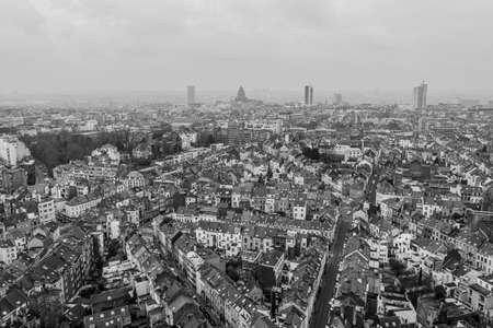 Brussels, Belgium,  January 3, 2021: panorama view from above, Basilica of Koekelberg on the background 新聞圖片
