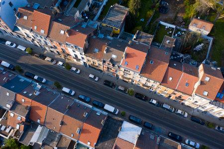 Brussels, Laeken, Belgium, April 8, 2020: Aerial view of Laeken street with tram rails