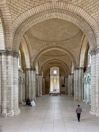 Fontevraud, France - Febuary 29, 2020: The interior of the church of the Royal Abbey, Abbaye Royale de Fontevraud
