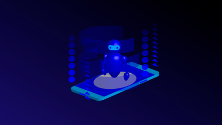 Isometric mobile phone and internet banking. online payment security transaction via credit card. protection shopping wireless pay through smartphone. digital technology transfer pay Ilustração