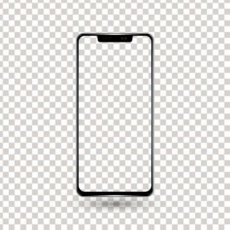 New frameless phone front black vector drawing eps10 format isolated on white background - vector. Ilustrace