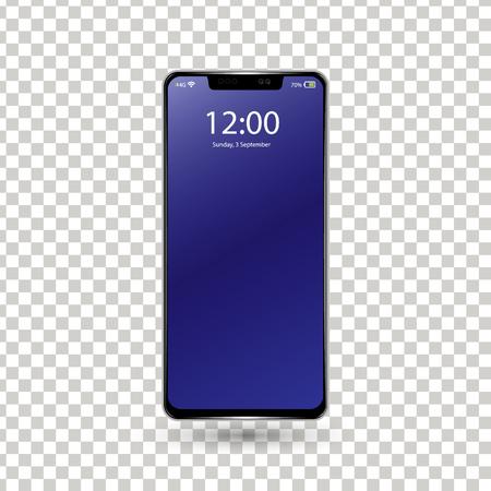 New frameless phone front black vector drawing eps10 format isolated on white background - vector. Ilustração