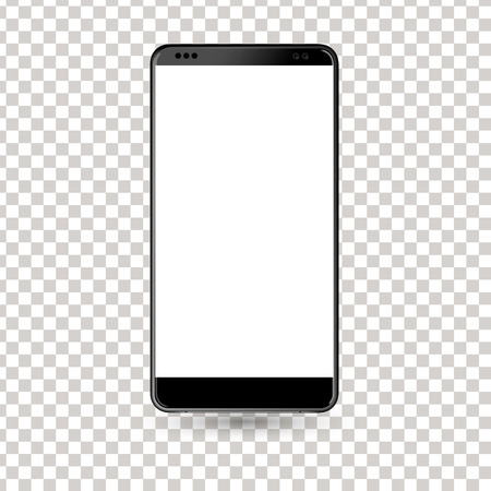 New phone front black drawing isolated on white background