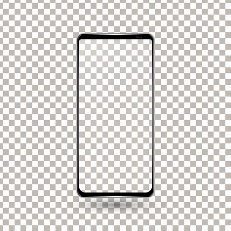 New frameless phone front black vector drawing eps10 format isolated on transparent background - vector Ilustração