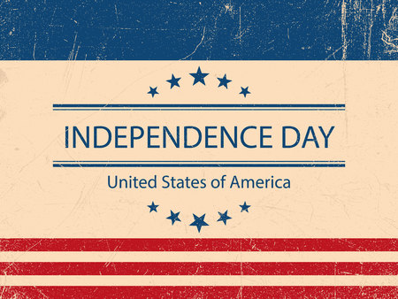 United States of America. 4th of July. Independence Day. Vector 10. Vintage poster.