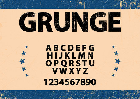 Bold font in grunge style and alphabet vector.