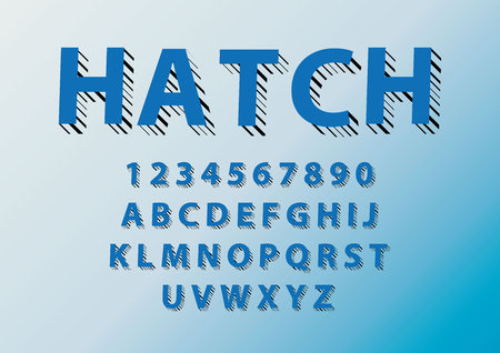 Vector of modern with strokes font and alphabet.