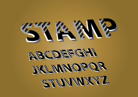 Vector composite sign Stamp. Chic composite complex inclined Alphabet Letters, Numbers and Symbols