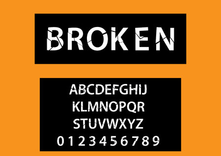 Vector of modern broken font and alphabet