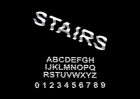 Vector of modern unusual interesting font and alphabet stair