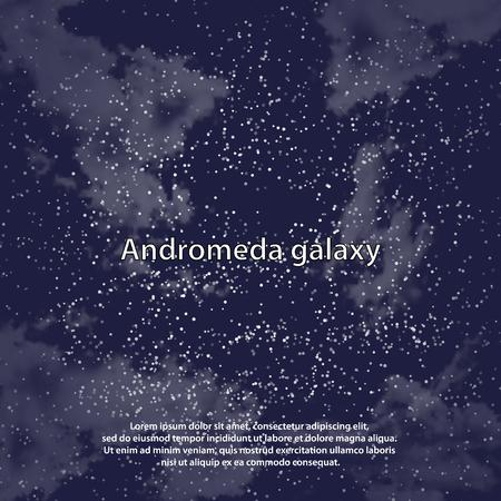 Magic night dark blue sky with sparkling stars vector wedding invitation. Andromeda galaxy. Starry glitter powder splash background. Starry scattered dust. Midnight milky way. Fairytale magic card