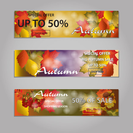 Autumn sale text banners for September or October shopping promo or 50 autumnal shop discount. Vector maple and oak acorn leaf foliage, mushroom and berry for discount design of leaflet or web banner