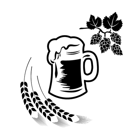 Beer illustration, emblem brewery, barrel, pub, bar, tavern, brew, barley, brewing, alcohol drink, ribbon label on white background
