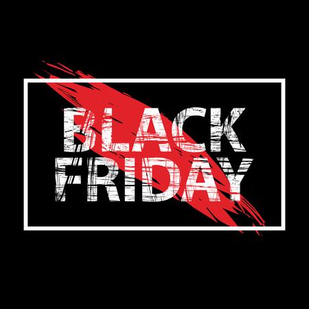 Black Friday sale black tag advertising round banner vector illustration. Ilustração