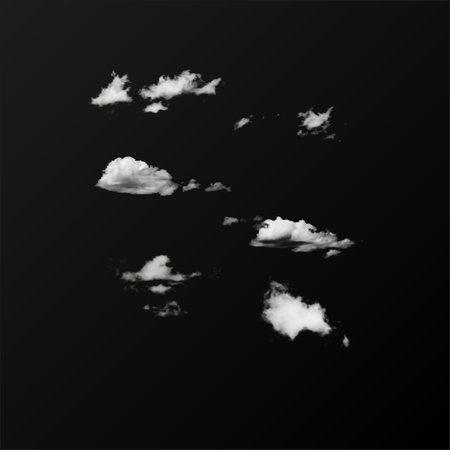 Insieme di vettore della nuvola isolata realistica sullo sfondo trasparente