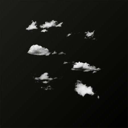 Jeu de nuage isolé réaliste sur le fond transparent vectorielles