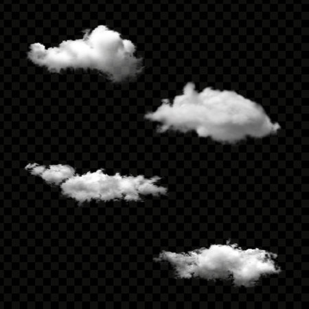Vector set of realistic isolated cloud on the transparent background Ilustrace