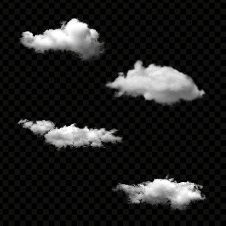 Vector set of realistic isolated cloud on the transparent background Ilustração