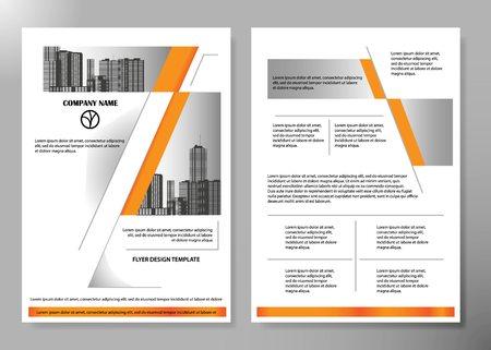 Volantini minimali relazione modello di portfolio layout poster rivista aziendale. Brochure design template vettoriale. Layout quadrato in copertina libro portfolio presentazione poster. City design su layout brochure A4