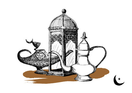 Ramadan Kareem Iftar party celebration, Eid Al Fitr Mubarak, Hand Drawn Sketch illustration