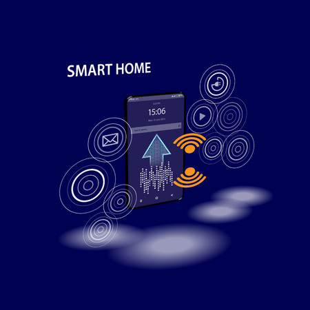 Smartphone with digital icons. Smart phone controls devices of smart home via wireless connection and voice commands