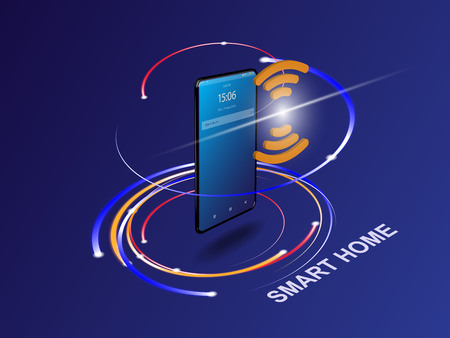 Smartphone with digital icons. Smart phone controls devices of smart home via wireless connection and voice commands. Internet of things concept