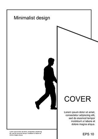A4 minimal black and white design. Postcard, flyer, poster, billboard, banner, cover, booklet brochure leaflet catalog calendar invitation report background