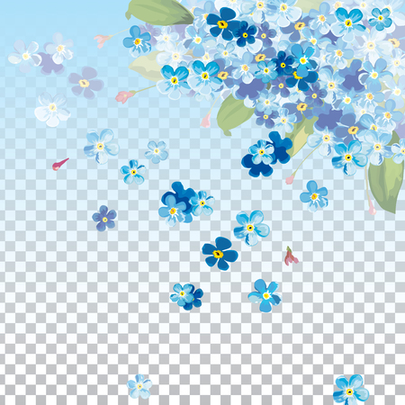 background with spring blue flower. Blue flower in springtime with falling petals and partially transparent background. 일러스트
