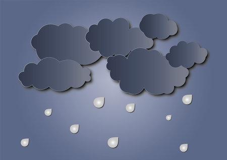 Illustration of Cloud and rain on dark background. heavy rain, rainy season, paper cut and craft style. vector, illustration Ilustração
