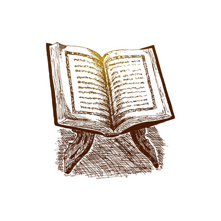 The holy book of the Koran on the stand, Hand Drawn Sketch illustration