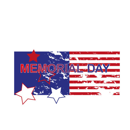 Happy Memorial Day greeting card. Home of the brave. Memorial day background. Festive poster or banner with hand lettering