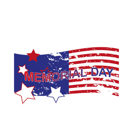 Happy Memorial Day greeting card. Home of the brave. Memorial day background art. Festive poster or banner with hand lettering