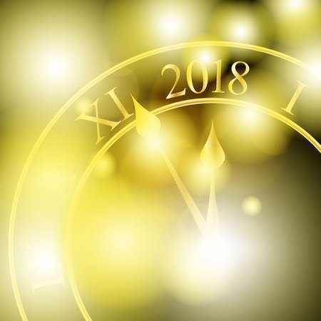 2018 New Year shining banner with clock. Vector illustration