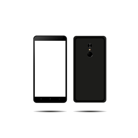 new phone front and back black on white background. Ilustração