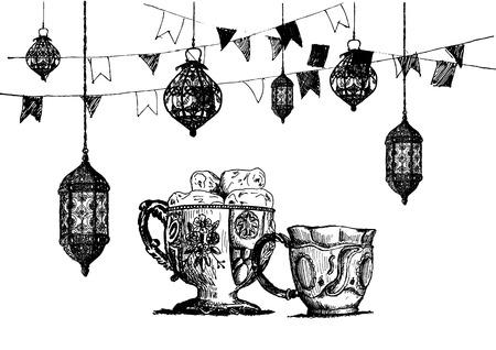Ramadan Kareem Iftar party celebration, Hand Drawn Sketch illustration