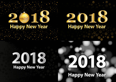 2018 Happy New Year vector background with silver glitter numbers. Festive retro poster with shimmering texture