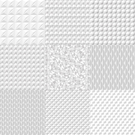 Set white geometric texture. Vector background can be used in cover design, book design, website background, CD cover, advertising.
