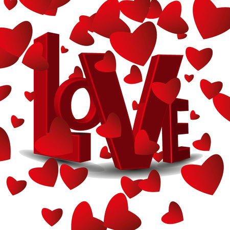 Achtergrond in rode tinten met hartjes voor St. Valentijnsdag.