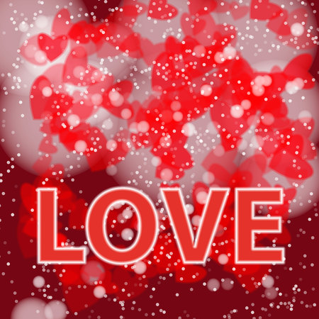 Background in red tones with hearts for St. Valentines Day.