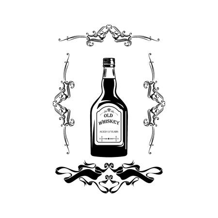 Alcohol Bottle Old Whiskey Drink Drinking Cocktail Bar Pub Bartender Vintage Glass. Illustration
