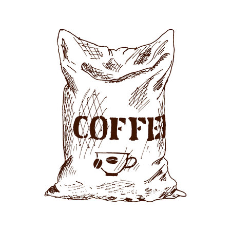 Bag of coffee Hand Drawn Sketch Vector illustration Stok Fotoğraf - 118434228
