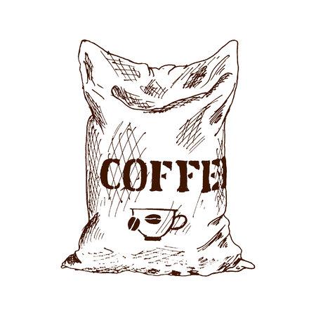 Bolsa de café Ilustración de Vector de boceto dibujado a mano Ilustración de vector