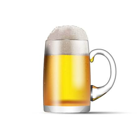 A glass mug with beer and foam isolated on white background Ilustração