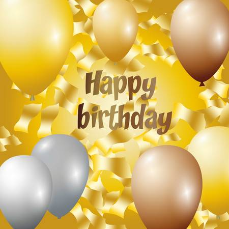 Happy birthday vector illustration - Golden foil confetti and silver and glitter gold balloons