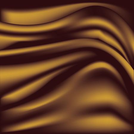 Soft golden silky fabric. Silk waves. Background Illustration