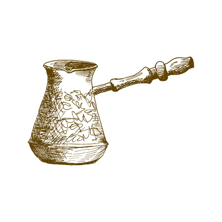 Cezve, coffeepot, ibrik Hand Drawn Sketch Vector illustration  イラスト・ベクター素材