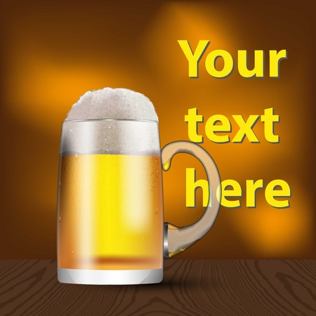 A glass mug with beer and foam. Banner, cover, advertising