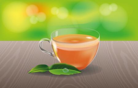 Glass cup with tea and green leaves on a wooden table with an abstract background. Green, Brown and orange