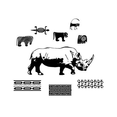 Africa, savannah, ethnic, rhinoceros, silhouette, pattern